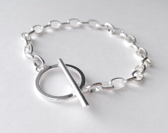 Sterling silver toggle bracelet. Submissive jewelry. O-ring bracelet. Bdsm jewelry. Circle bracelet. Scandinavian jewelry. Rocker bracelet.