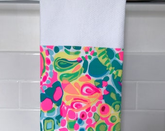 "Kitchen Dishtowel - Lilly Pulitzer ""Come Out of Your Shell"" fabric dishtowel - Ready to Ship"