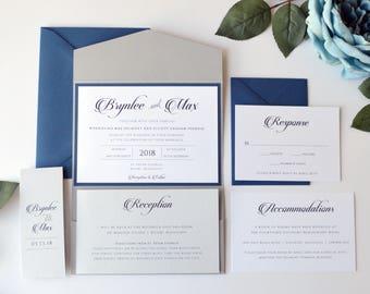 Navy Wedding Invitation, Grey Wedding Invitation, Pocketfold Wedding Invitation, Navy Blue and Grey, Pocket Fold
