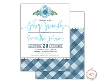 Buffalo Plaid baby brunch invitation for a boy baby shower invites, blue, printable or printed - WLP00767