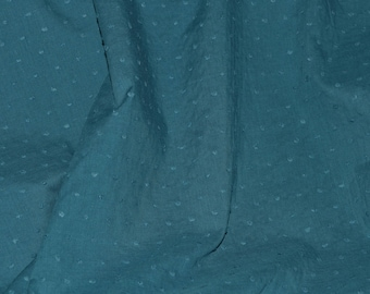 "Swiss Dot Fabric with Raised Dots Solid Dark Teal 100% Cotton 56"" Wide Fabric By the Yard"