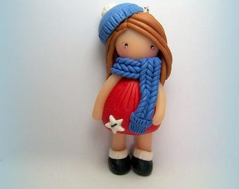 "Pendant necklace ""Doll"" clay (Fimo, Sculpey...)"