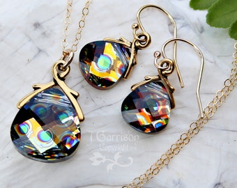 Swarovski peacock briolette necklace and earring set, 14k gold filled - gold crystal with blue & green spots - free shipping in USA