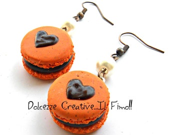 Earrings heart - macaroon with orange and chocolate macaroons - miniatures by hand