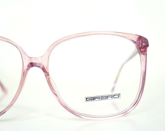 Light Pink Eyeglasses Clear 1980s Oversized Huge Glasses Punk Tumblr Aesthetic 80s Eighties Retro Spectacles French France Authentic Real