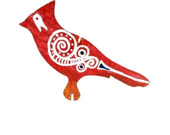 Hand Painted Wooden Ornament- Redbird Tsalagi Cherokee Made