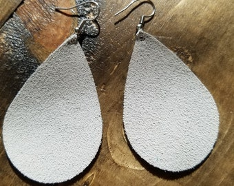 Gray soft leather earrings