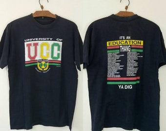 Vintage Rare University Of Cross Colours Rap Hiphop Logo 90s Tshirt Fits Medium