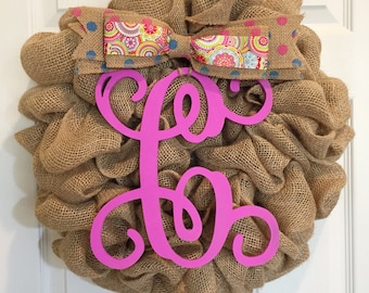 New! Spring Pink Burlap Wreath