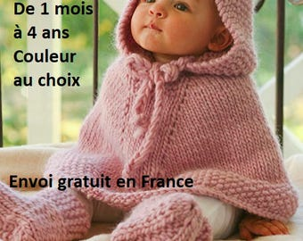 Baby poncho knitted pure wool with hood, cape, coat, fall clothing winter birth anniversary Christmas gift