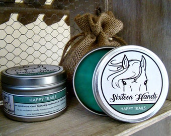 HAPPY TRAILS - Soy Blend Candle - Gifts For Horse Lovers - Equestrian Gifts - Horse Candles - Equestrian Decor