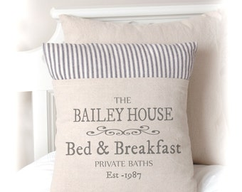 Bed and Breakfast, Guest Pillow Cover, Farmhouse Style, Home decor, Custom Pillow Cover