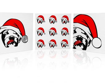 Limited Edition Pack of 3 Bulldog Christmas Cards: Bulldog in Santa Hat with Embellishments