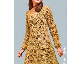 Crochet Dress Pattern Womens Vintage Empire Mini Dress Crochet Pattern PDF Instant Download Size 8 to 14- C56