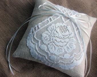 Ring Bearer Pillow  B u r l a p and L a c e outdoor rustic wedding