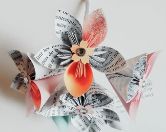 Flower bouquet in Origami paper for cookies / bridesmaids
