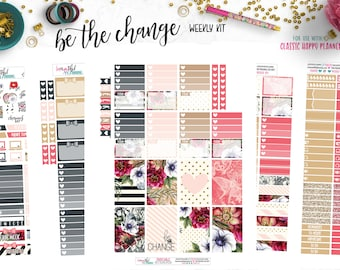 Be the Change | Weekly Printable Planner Kit | Planner Stickers | Cut Line Files | for use with Happy Planner | Planner Stickers Printables