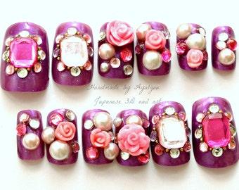 Lolita accessory, party nails, purple nail, 3D nail, rose, nail gem, nail bling, over the top, Harajuku,  Japanese, party nail, hime gyaru,