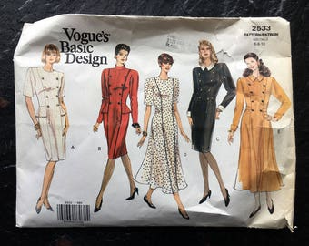 Vintage Misses' or Misses' Petite Dress Pattern // Vogue 2533 > sizes 6-8-10 > princess seams, loose fitting, straight or flared
