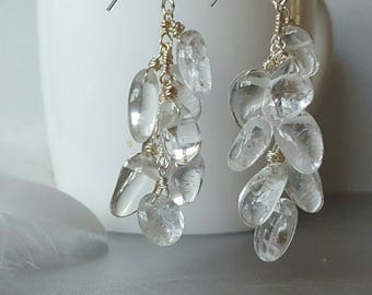 Gemstones Waterfall Earrings - Cluster of Gems - Clear Quartz Crystal Jewelry - Evening Gemstone Statement Earrings - Glamorous Accessories