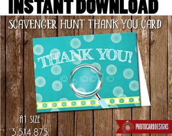 Scavenger Hunt THANK YOU card, Thank You, Scavenger Hunt Party, Mall Madness, Treat Tag, Digital, Printable, Party, INsTANT DOWNLOAD