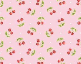 SALE!! Riley Blake Glamper Cherries in Pink, Pink Cherry Fabric, UK Seller, Fat Quarter