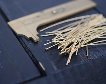 100pcs Raw Brass Headpins 3 Inches 23 gauge