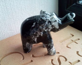 Black Zebra Marble Onyx Carved Elephant Crystal Healing Reiki Relaxation