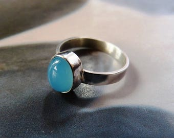 Blue chalcedony ring, light blue stone silver, handcrafted, metalwork statement, OOAK jewelry, gift for her, birthday gift, for mother
