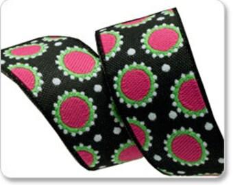 "JANE SASSAMAN 7/8"" ribbon--Pink/Black Dotty--price is per yard"