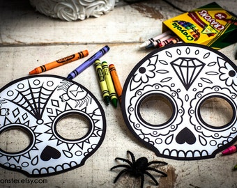 day of the dead skull mask template - day of the dead etsy