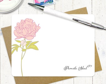 personalized stationery note card set - PRETTY PEONY BLOSSOM - set of 12 flat note cards - stationery - custom stationary