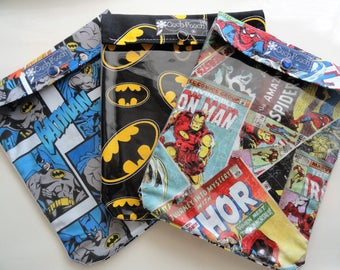 Ouch Pouch 3 Pack Large 6x8 First Aid Meds Toiletries Diaper Bag Purse Organizer New Mom Shower Gift Superhero or Your Choice Fabrics