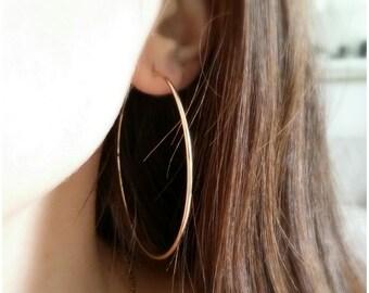 Hoop earrings, gold 750/000 - large hoop earrings, rings gold plated 18 k - Large 750 gold plated hoop Earrings
