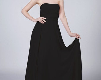 Pure Black Long Strapless Bridesmaid / Prom/ Evening Dress with matching items available by Matchimony