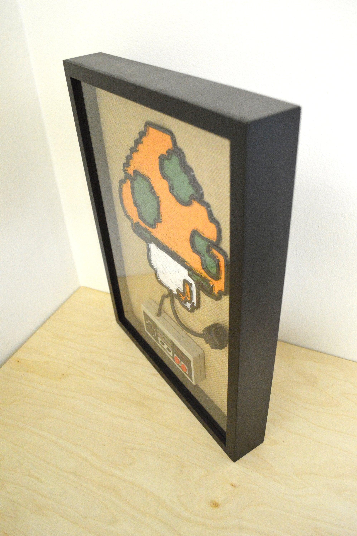 Super Mario 1UP Mushroom In Color - Nintendo NES Wall Art Shadow Box ...