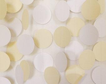 White & Ivory (Cream) Wedding Paper Garland, Circle Garland, Cardstock, Bridal Shower Decorations, Wedding Decor, Baby Shower, 10 ft. long