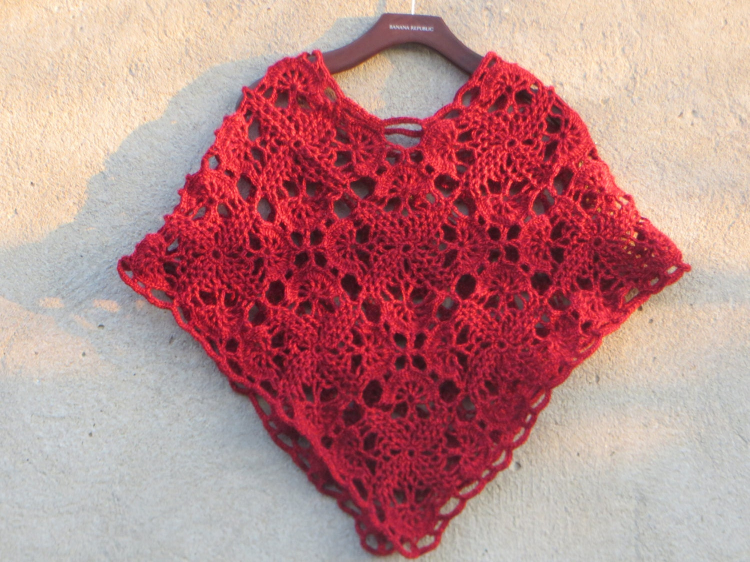 Einfach Poncho Muster Poncho rot Poncho Muster Spitze Poncho