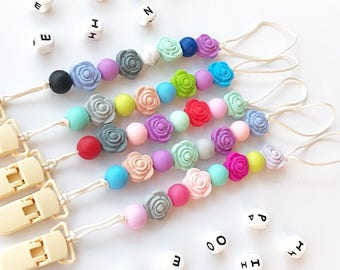 Silicone Pacifier Clip Baby Teething Silicon Dummy Clip Food Grade Silicone Chew Beads Flower Beads