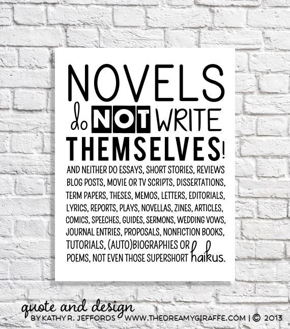 Funny Poster Gift For Her Printable Art Inspirational: Items Similar To Novel Writing Quote Print Poster English