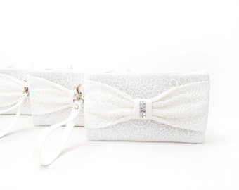 Big sale -bridesmaid clutch ,off white  bow wristelt  lace clutch,bridesmaid gift ,wedding gift ,make up bag,zipper pouch,cosmetic bag,