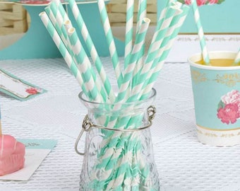 Eternal Rose Turquoise Stripe Paper Straws ,shabby chic,tea party,wedding,tableware,china look