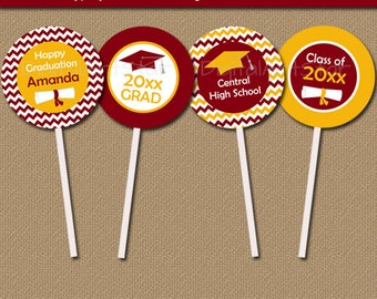 Instant Download Graduation Cupcake Toppers - Printable Burgundy Yellow Chevron Graduation Cupcake Picks - EDITABLE Graduation Decor G3