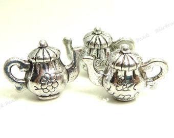 8 Teapot Charms ( 3D ) - Antique Silver Tone Metal - Tea Time Charms or Pendants - 16x12mm - BP14