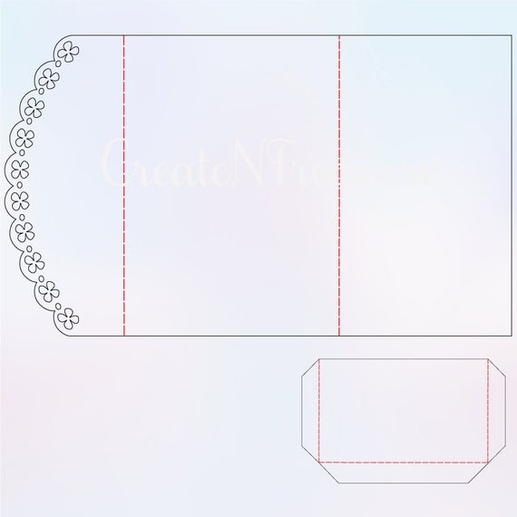Pocketfold Invitation Template 5x7 SVG DXF Cutting file for