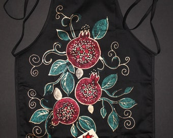Black Apron,Hand painted,Womens apron,Pomegranate & Leaves,Sparkle Modern,Armenian,Gift for mother,Gift for her,Gift for chef,Luxury,Etsy