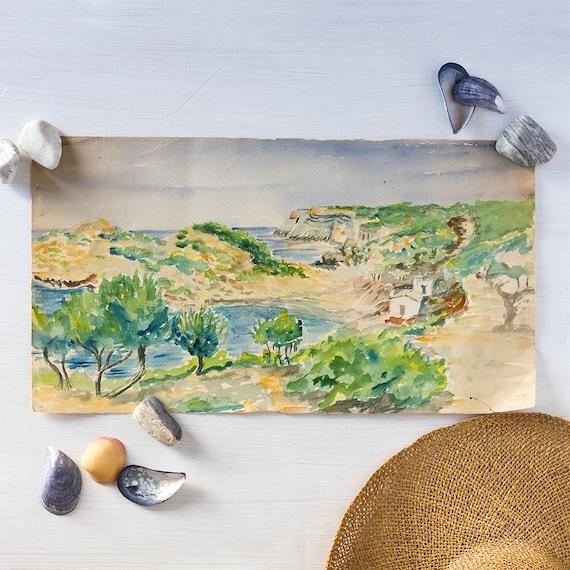 Vintage French Plein Art Watercolor - Ibiza Coast