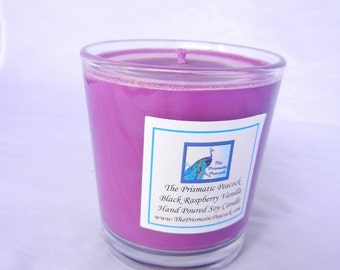 Black Raspberry Vanilla Scented Soy Candle 10 oz Tumbler Purple