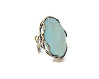 Vintage Sterling Freeform Blue Chalcedony Ring Size 5.5