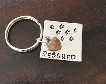 Rescued Paw Prints Keychain Charm Custom Hand-stamped Dog Lover Rescue Mom